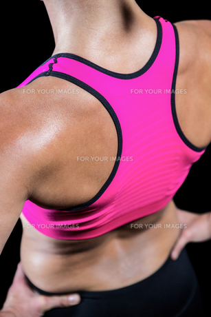 High angle view of muscular womanの素材 [FYI00486074]