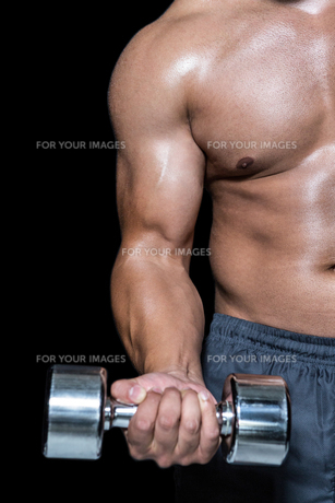 Mid section of a bodybuilder with dumbbellの写真素材 [FYI00486090]