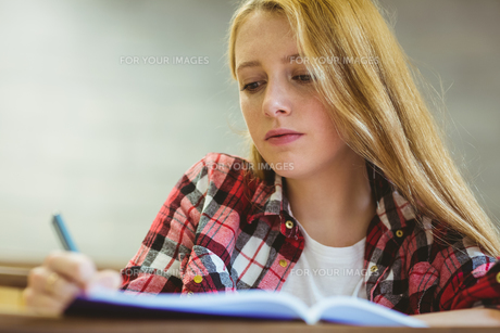 Focused student taking notes during classの写真素材 [FYI00486101]