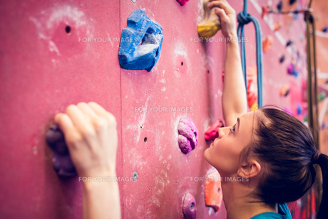 Fit woman rock climbing indoorsの素材 [FYI00486155]