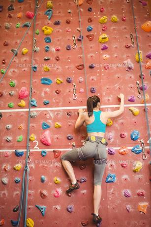 Woman climbing up rock wallの素材 [FYI00486169]