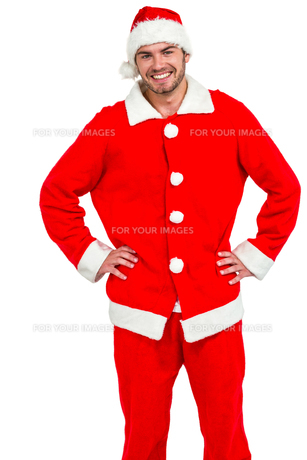 Happy man in santa costumeの素材 [FYI00486502]