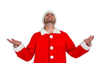 Happy man in santa costumeの素材 [FYI00486509]