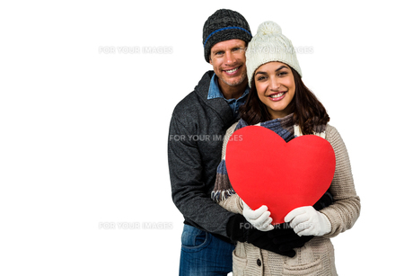 Festive couple in winter clothesの写真素材 [FYI00486516]