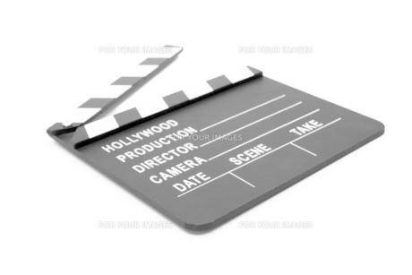 Film slate lying openの写真素材 [FYI00486599]