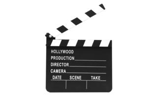 Film slate standing against white backgroundの写真素材 [FYI00486605]