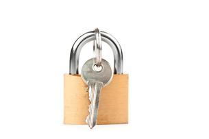 Padlock with keyの写真素材 [FYI00486669]