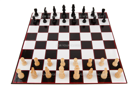 Chessboard fully set upの写真素材 [FYI00486690]