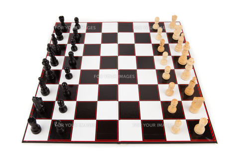 Chessboard with chess piecesの写真素材 [FYI00486825]