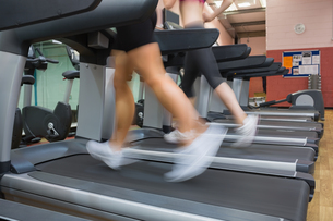 Two people running on treadmills in the gymの写真素材 [FYI00486864]
