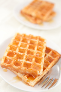 Waffles spread with honey in a platefulの写真素材 [FYI00486916]