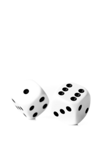 Two black and white dices in motionの写真素材 [FYI00486938]