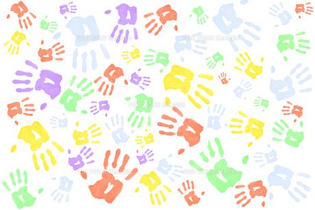Lots of multi colored handprintsの素材 [FYI00487064]