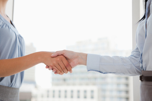 Two women shaking hands in the officeの写真素材 [FYI00487073]