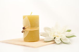 Yellow candle with a white flowerの写真素材 [FYI00487150]