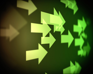 Background of multiple green arrowsの写真素材 [FYI00487159]