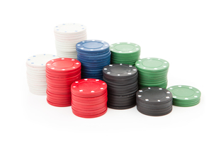 Poker coins stacked up togetherの写真素材 [FYI00487282]