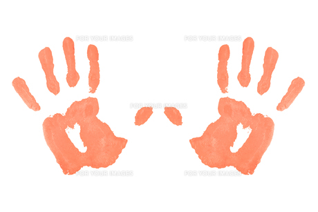 Two red symmetric handprintsの写真素材 [FYI00487306]