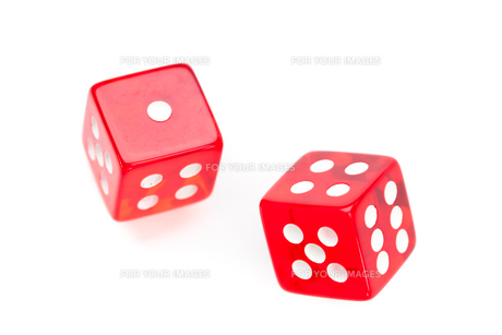 Two red dices movingの写真素材 [FYI00487361]
