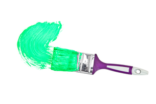 Green brush stroke forming a semicircleの写真素材 [FYI00487404]