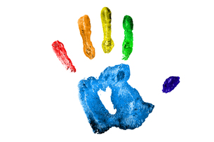 One multicolred handprintの写真素材 [FYI00487430]