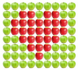 Green wet apples with red apples in betweenの写真素材 [FYI00487497]