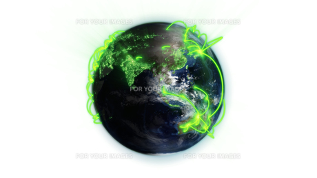 Illustrated green connections on world with an Earth image courtesy of Nasa.orgの写真素材 [FYI00487513]