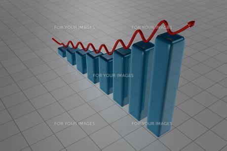 Blue rising barsの写真素材 [FYI00487516]