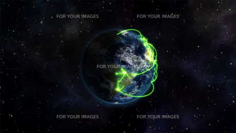 Illustrated image of the connected world with an Earth image courtesy of Nasa.orgの写真素材 [FYI00487520]