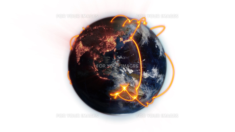 Illustrated orange connections on world with an Earth image courtesy of Nasa.orgの写真素材 [FYI00487525]