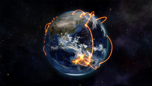 Illustrated picture about worldwide connectivity with an Earth image courtesy of Nasa.orgの写真素材 [FYI00487539]