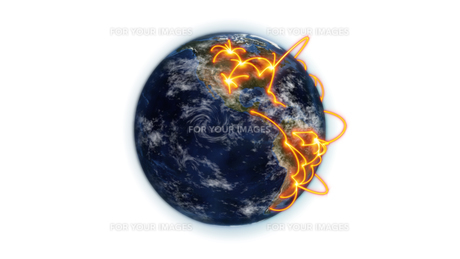 Illustrated orange connections on earth with an Earth image courtesy of Nasa.orgの素材 [FYI00487545]