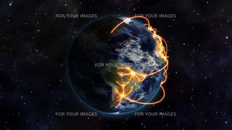 Illustrationof the world being connected with an Earth image courtesy of Nasa.orgの素材 [FYI00487561]