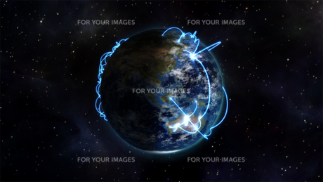 Illustrated image about the connected world with an Earth image courtesy of Nasa.orgの素材 [FYI00487564]
