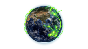 Illustrated green connections on earth with an Earth image courtesy of Nasa.orgの写真素材 [FYI00487568]