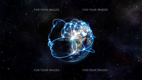 Illustration image of the connected countries with an Earth image courtesy of Nasa.orgの写真素材 [FYI00487580]