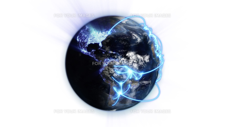 Illustrated blue connections on blurred earth with an Earth image courtesy of Nasa.orgの素材 [FYI00487583]