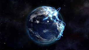 Illustrated image about the world connected with an Earth image courtesy of Nasa.orgの素材 [FYI00487584]
