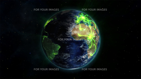 Illustrated earth with glowing connections with an Earth image courtesy of Nasa.orgの素材 [FYI00487611]