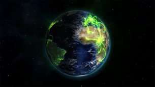 Illustrated earth with glowing connections with an Earth image courtesy of Nasa.orgの写真素材 [FYI00487611]