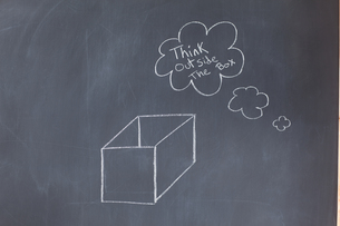 Blackboard with a box drawn on itの写真素材 [FYI00487622]