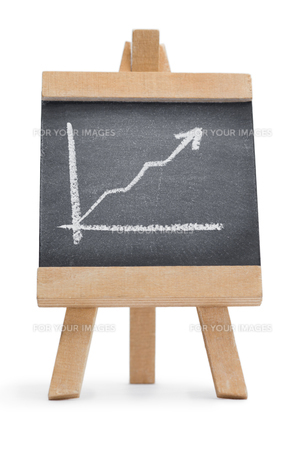 Chalkboard with a graph drawn on itの写真素材 [FYI00487630]