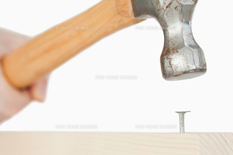 Hand holding a hammer to drive a nail into a wooden boardの素材 [FYI00487678]