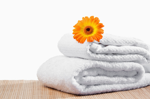 White towels under a sunflowerの写真素材 [FYI00487697]