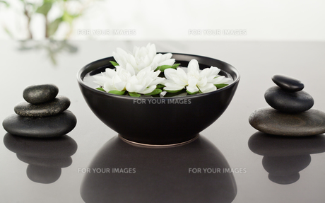 Flowers floating surrounded by stacks of black pebblesの素材 [FYI00487698]