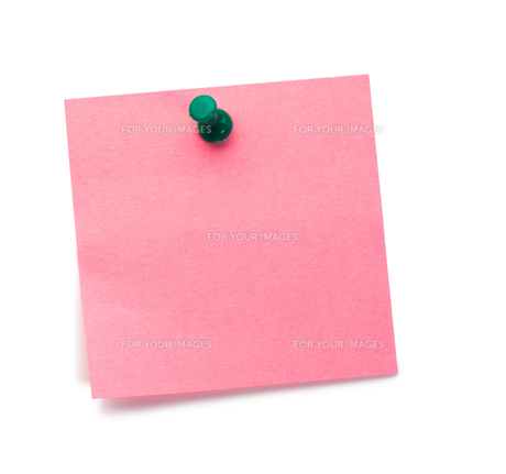 Pink postit with a drawing pinの写真素材 [FYI00487728]