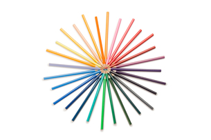 Top view of color pencilsの素材 [FYI00487740]