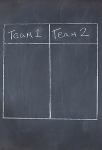 Table with columns for team 1 and team 2の写真素材 [FYI00487753]