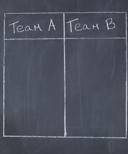 Table with columns for team A and team Bの写真素材 [FYI00487776]