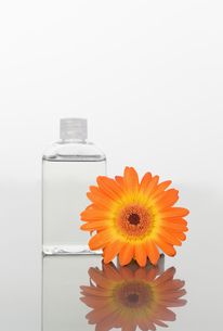 Orange gerbera and a glass flask on a mirrorの写真素材 [FYI00487777]